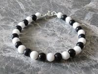 Sparkly Blue Goldstone & White Agate Bracelet With Sterling Silver | Silver Sensations